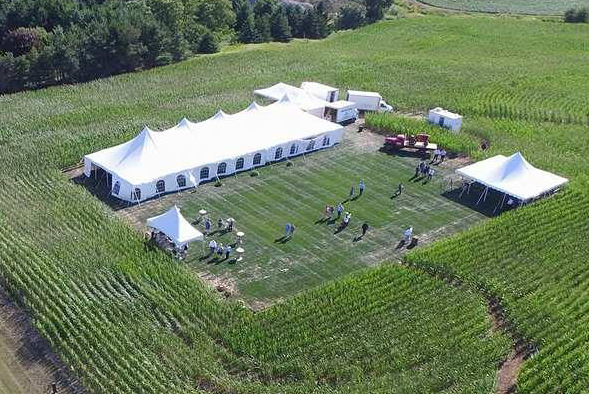 arial photo of tent